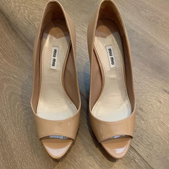 e79eeb4c78c83 Miu Miu Shoes | Patent Leather Peeptoe Wedge Pumps | Poshmark